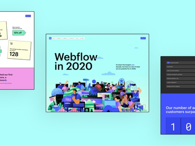 Landing Page — Webflow in 2020 2020 trends annual report design stats team report no code no-code uidesign website 2020 annual report year in review webflow