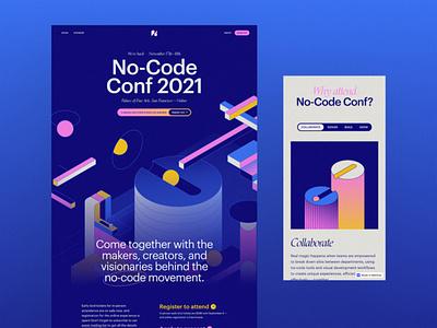 No-Code Conf 2021 - Website motion graphics 3d illustration ui design branding web design webflow event conference no-code