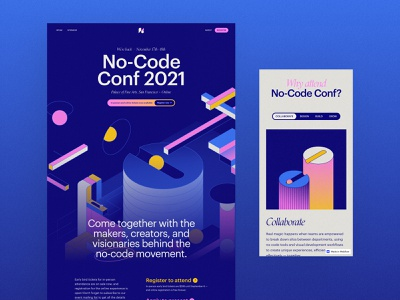 No-Code Conf 2021 - Website interactions animation 3d motion branding vector illustration ui design event conference webflow no-code