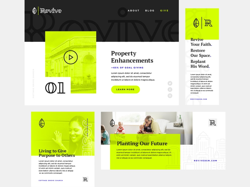 Revive Applications christian property capital giving faith identity layout mocks applications branding revive