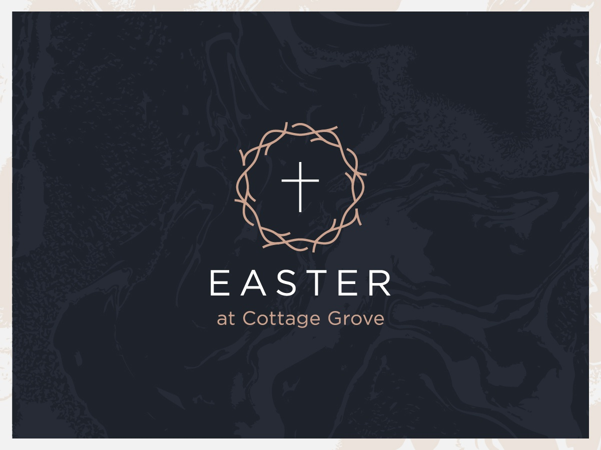 Easter at Cottage Grove victory easter branding logo easter flyer christ christian branding and identity blood crucifixion cross wave fluid typography vector illustration