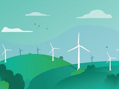 Wind Power Zoom Background wind farm bird blue green field energy windmill wind