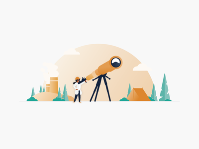 See the new world of EHS compliance woods forest clouds illlustrator ehs facilities trees tent camping orange telescope illustration