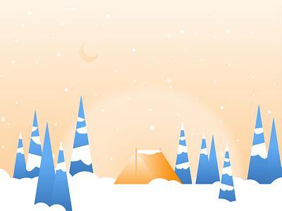 Winter Scene forest flurry orange blue camping pine tree pinetree evergreen tree snow holiday winter tent