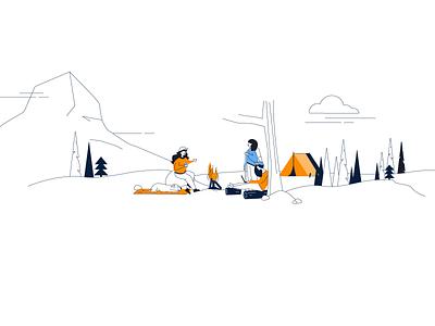 Women Camping Trip Illustration group women camping bonfire dog sleeping dog orange tent backpacking camp campfire