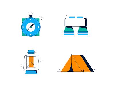 Camping Icons compass binoculars binocular lantern tent iconset incon icons camping
