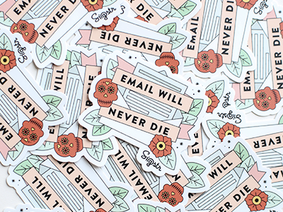 Email Will Never Die Sticker tattoo flower tattoo poppy leave skull sugar skull sticker mule sticker