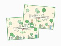 Internal Birthday + Anniversary Postcards