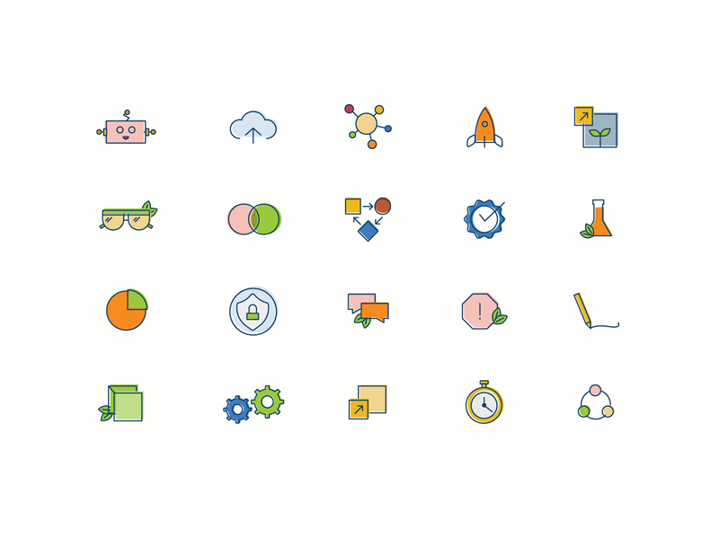 Encamp Icon Assortment chemistry chemical stop sign security chat gears gear timer rocket safety robot environmental ehs icons pack iconset icons icon