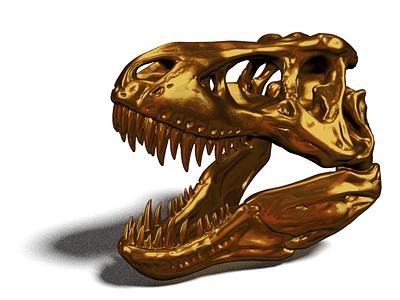 Gold T-Rex Skull  fossil gold skull dino dinosaur 3d blender