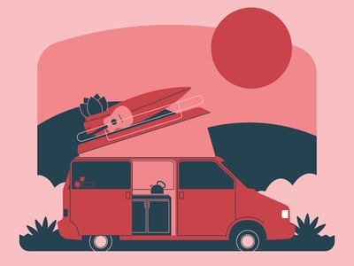 Travel Essentials pink campervan camper icon illustration
