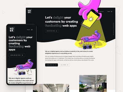 Hello Dribbble! Koek.nl homepage app website web design hero banner ux ui design web development webapp illustration hero ui agency website webdesign