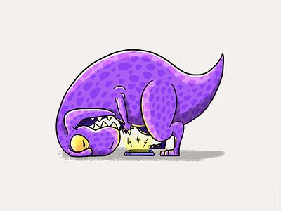 Big head and little arms tyrannosaurus rex t rex t-rex dinosaur dino tiny purple wacom cintiq adobe photoshop digital illustration design branding illustration