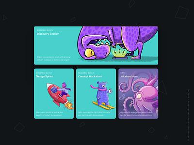 New Koek cards! digital illustration website webapp app cards ui cards ui branding agency website illustration