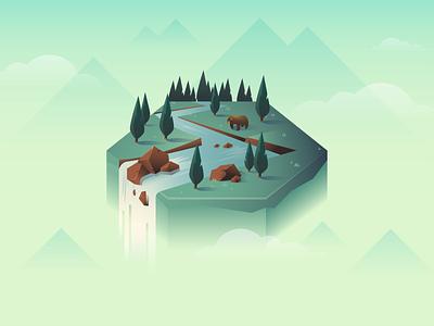 Floating island waterfall green tree forest bear branding digital illustration vector illustration tile journey catan