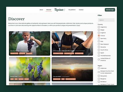 Revino's list view tiles platform wine pwa branding website webapp list view filter list