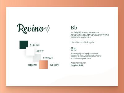Revino, the brand green copper gradient colour palette wine brand fonts colours colour branding