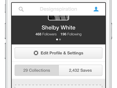 So close! designspiration collection profile design ui iphone minimal collections saves mobile website