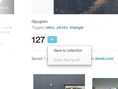 Designspiration Save options designspiration tooltip save button toggle plus saving tool tip dropdown options switch