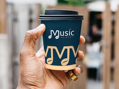 Music Cafe - 2 part restaurant logo music illustration brand designer cafe logo branding design agency branding design brand identity brand development brand design branding brand