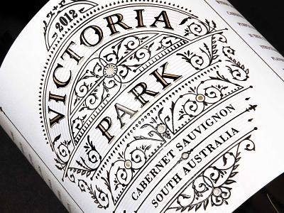 Victoriapark design wine label vintage gold retro jcdesevre typography illustration packaging luxury embossed