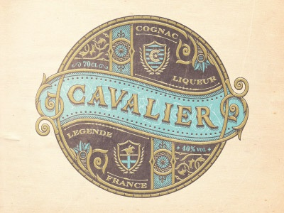 Cavalier emblem jcdesevre vector engraving luxury french retro design gold packaging typography