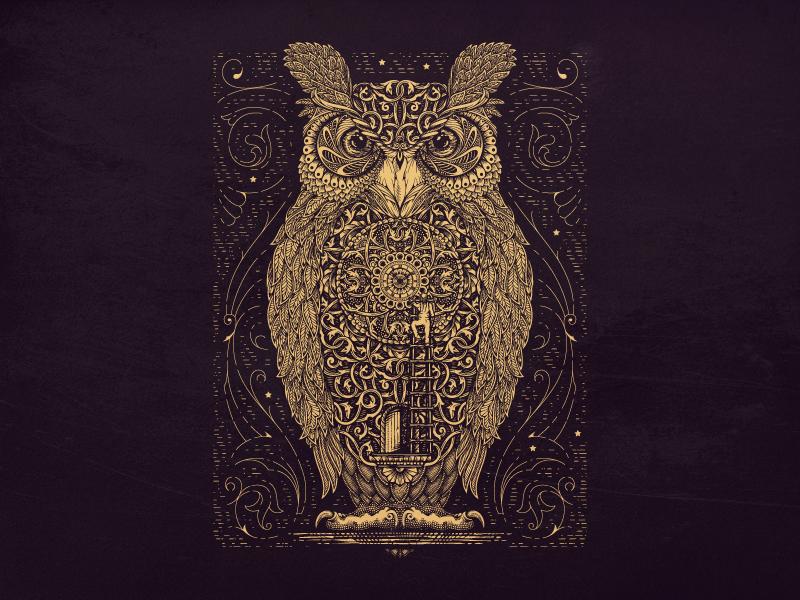 BTS owl illustrator jcdesevre vectoriel vintage luxury illustration label