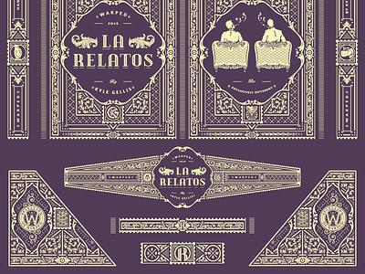 La Relatos cigars packaging illustrator jcdesevre vectoriel vintage luxury illustration label