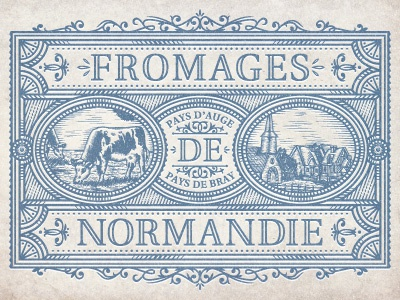 NormandyCheese art vector normandy label french cheese jcdesevre logo logo designer logo design retro design vintage flourish engraving effect graphic