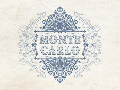 Montecarlo jcdesevre emblem art poster retro vector french logo designer logo design vintage flourish graphic