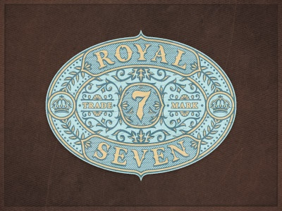Royal7 retro jcdesevre label logo designer logo design logo vector art design flourish graphic