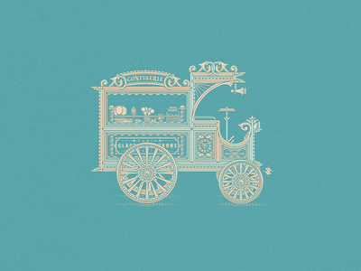 Candies Vintage Car jcdesevre line art vector illustrator candies car retro vintage design graphic illustration