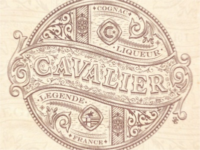 Cavalier rider retro cavalier label vector emblem jcdesevre french design flourish engraving effect graphic