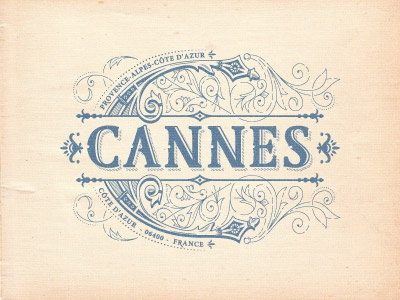 Cannes flourish french cannes jcdesevre logo design logo designer logo retro vector poster typography design graphic