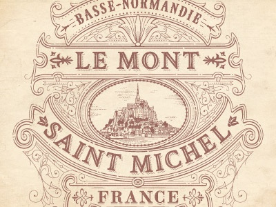 Mont Saint Michel flourish typography vector jcdesevre logo logo design retro illustration vintage logo designer french poster graphic design