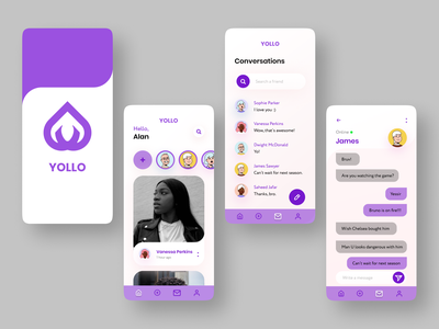 Yollo App instagram messaging app ui design
