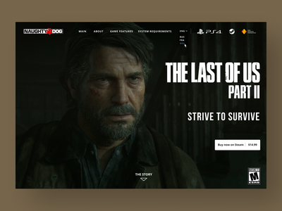 The Last of Us 2 landing page gaming web landing page ui design