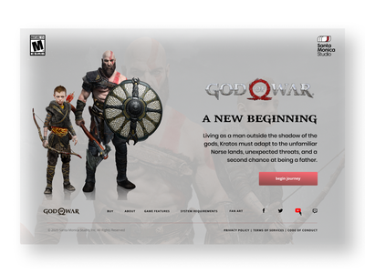 God of War - White Web god of war landing page web ui design