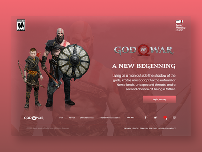 God of War - Red Web god of war landing page web ui design