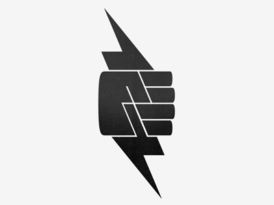 Logo three lightning bolts in fist