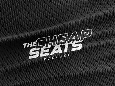 The Cheap Seats Podcast Logo mockup typography sports podcast badge lockup logo design