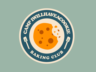 CAMP IWILLHAVEACOOKIE a.k.a. Camp Cookie branding vintage retro camp chocolate cookie baking typography badge illustration