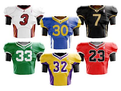 NBA/NFL Crossover redesign football los angeles boston golden state basketball kit jersey mashup bulls chicago lakers celtics raptors toronto warriors heat miami nfl nba