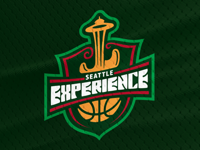 Seattle Experience Primary Logo guitar space needle voodoo power flower experience hendrix jimi supersonics sonics seattle nba design branding basketball logo brand