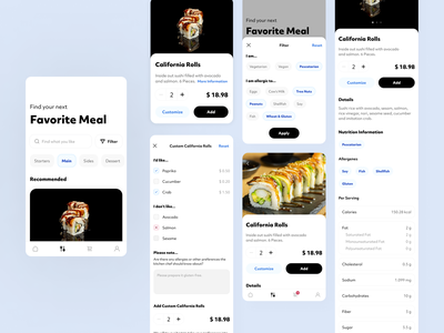 Food Menu for a Sushi Restaurant food calories nutrition search filter restaurant sushi ux ui app japan illustration