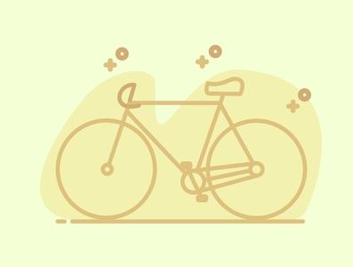 Monoline Bicycle with a simple colour wonderful flat design bicycle monochrome monoline design flat illustration