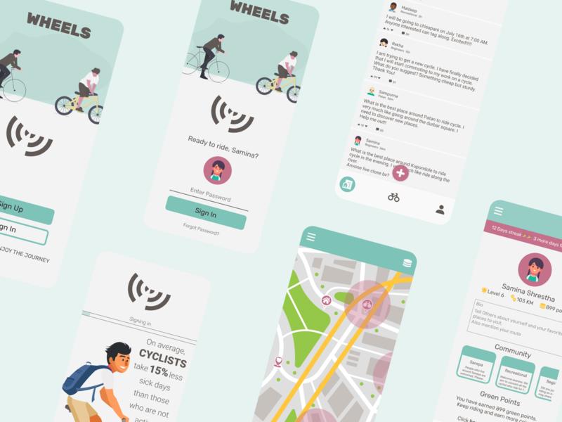 App Concept- Wheels app concept appconcept cycling cycle app design figma