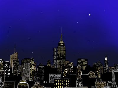 Magical city of New York beautiful lights stars light nightsky nightlife procreate digitalillustration new york city colors illustration design graphic