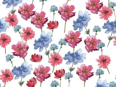 Watercolor seamless pattern- anemones