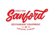 Sanford Restaurant Equipment owned family restaurant logo red branding illustration